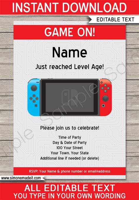printable nes labels nintendo switch party invitations template video game