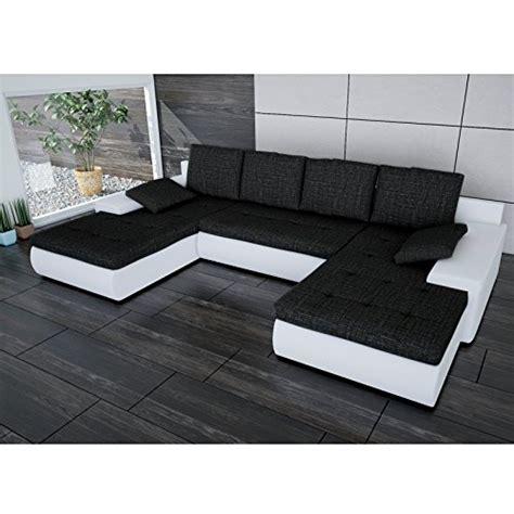 mit zwei ottomanen sofa polsterecke linosa wei 223 strukturstoff schwarz