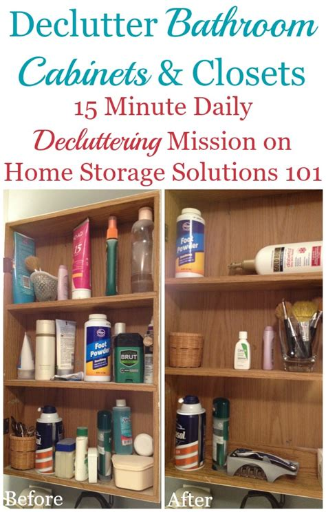 how to declutter bathroom cabinets closet shelves