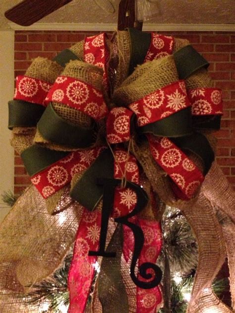 how to place burlap bow and burlap streamers on christmas tree xl tree topper bow 6 ft streamers 14 in width burlap rustic primitive