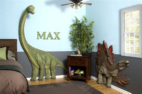 Dinosaur Bedrooms | kids bedrooms with dinosaur themed wall art and murals