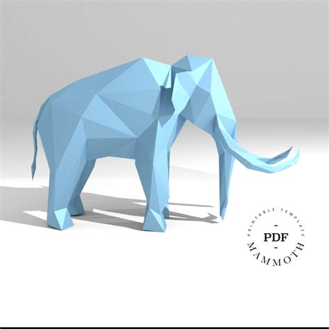 3d Model Papercraft - printable diy template pdf mammoth low poly paper model