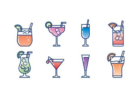 cocktail icon vector glass of cocktail icon set download free vector art