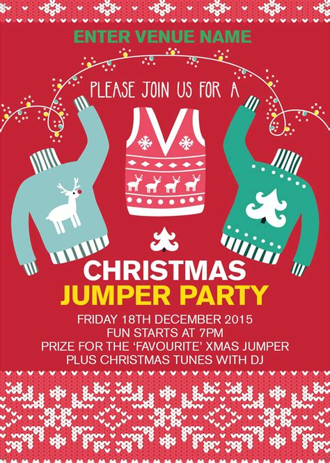Christmas Jumper Party Poster Promote Your Pub Jumper Day Template Letter