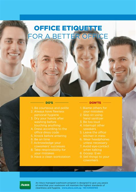 workplace etiquette posters friendly reminders alsco