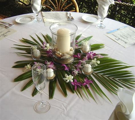 Palm Tree Centerpieces Weddings Like Broad Leaf Wedding Hawaiian Wedding Centerpieces