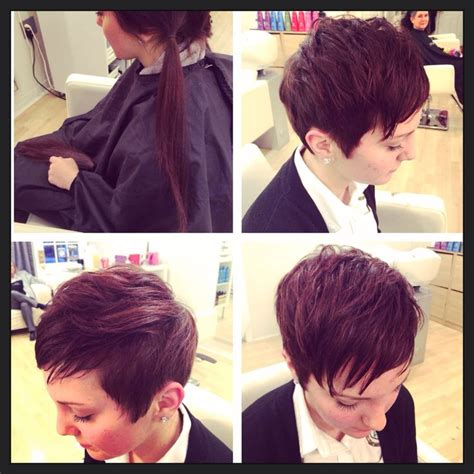 pixie hairstyles before and after before and after long to short pixie haircut by ashley
