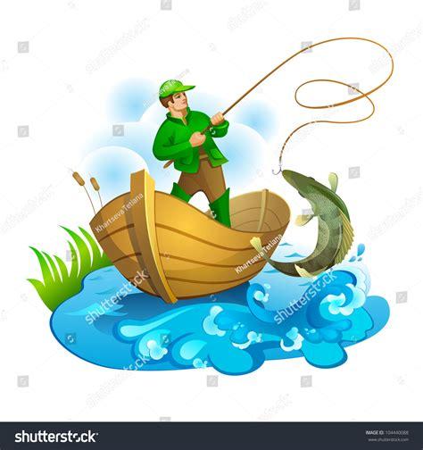 cartoon fisherman in boat fisherman boat pulling fish stock illustration 104440088