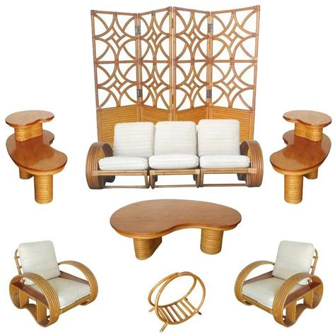 rattan living room set restored mid century rattan and mahogany living room