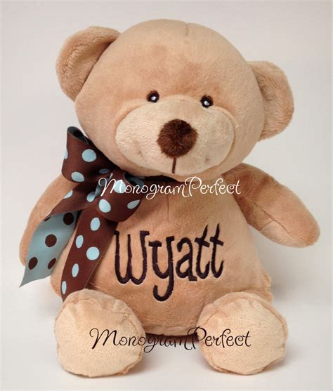 personalized monogrammed plush soft toy teddy bear baby gift
