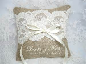 personalized burlap ring bearer pillow lace by