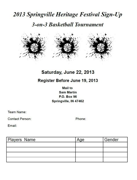 3 On 3 Basketball Tournament Springville Heritage Festival Springville Indiana Basketball Tournament Registration Form Template