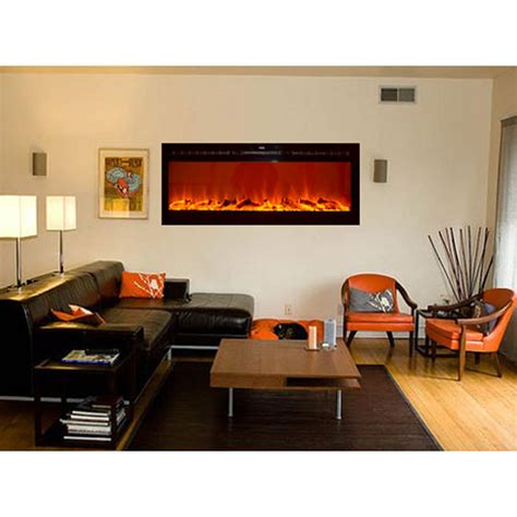 Recessed Wall Mount Electric Fireplace by Touchstone Sideline 50 Inch Wall Mounted Recessed Electric