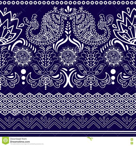 paisley pattern in spanish vector lace bohemian seamless border with floral and