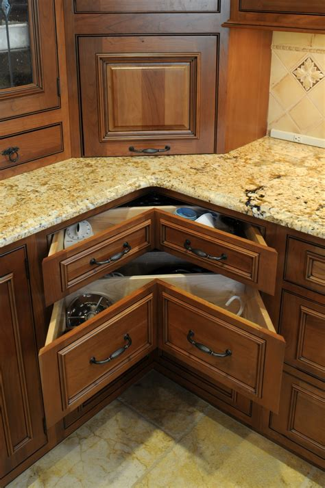 Corner Kitchen Cabinet by Unique Triangle Shaped Drawers In Kitchen Corner