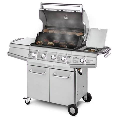 Backyard Grill Stainless Steel 4 Burner Gas Grill by Brinkmann 48 000 Btu 4 Burner Gas Grill With Side Burner