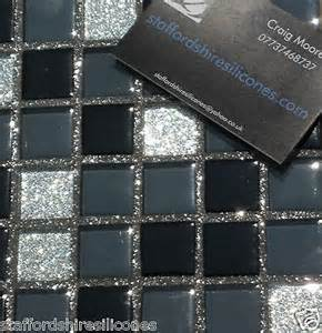 Cheap Kitchen Backsplash Tiles Black Silver Glass Mosaic Kitchen Wall Tiles Backsplash