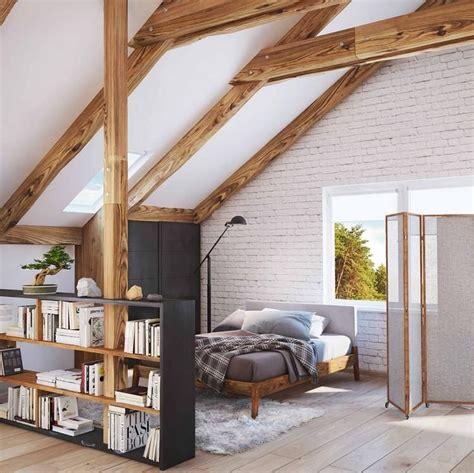 dachgeschoss ausbauen ideen stehregal als raumteiler im dachboden einrichtungsideen