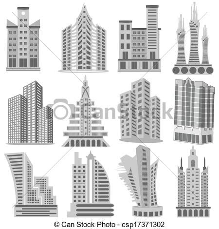 vector clipart of building and skyscraper easy to edit vector illustration csp17371302