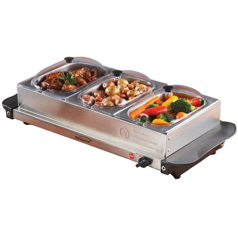brentwood triple buffet server w warming tray chafing