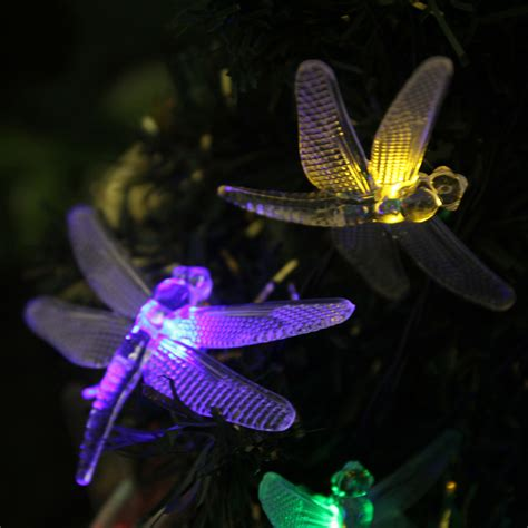 Dragonfly String Lights Outdoor Solar Outdoor Light String 20 Led Dragonfly Garden Patio Lights Decorative