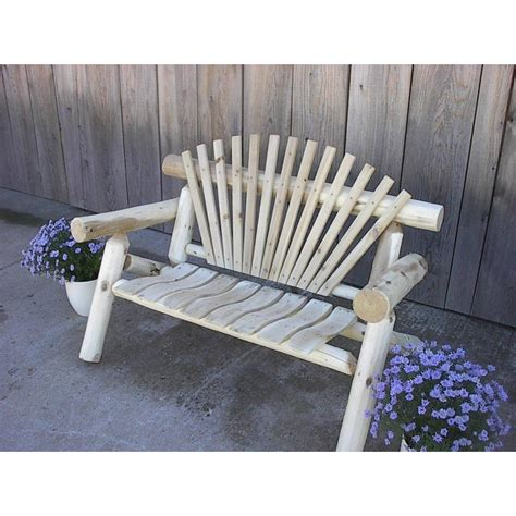 White Cedar Log Rustic Park Bench 4 5 6 7 Ft