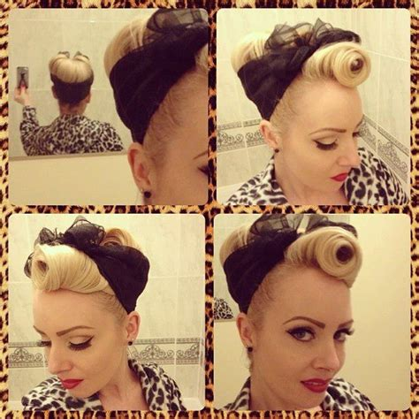 pin up updo with scarf hairstyles hairstyle hair