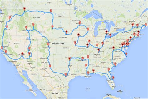 printable route planner usa this map shows the ultimate u s road trip mental floss