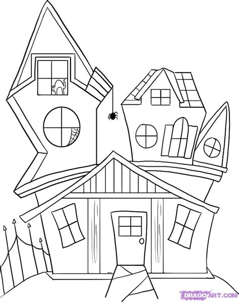 how to draw houses how to draw a spooky house step by step halloween seasonal free online drawing