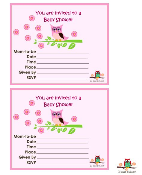 Free Printable Owl Baby Shower Invitations by Free Printable Owl Baby Shower Invitations