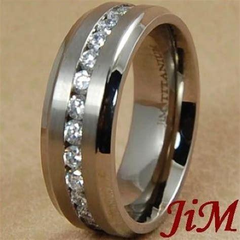 8mm titanium wedding band around s ring bridal