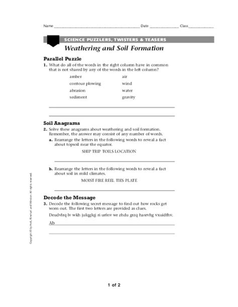Soil Formation Worksheet Answers by Soil Formation Worksheet Worksheets Releaseboard Free