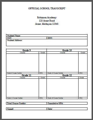 Homeschool Student High School Transcript Template Free To Print Or Download Alter The High School Transcript Template Free