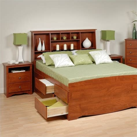 platform bed bedroom set cherry full wood platform storage bed 3 piece bedroom set