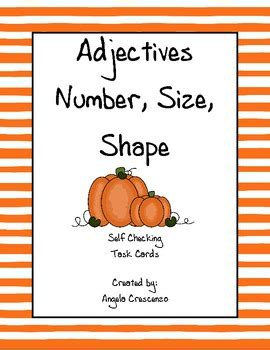 what size are number cards adjectives number shape size task cards by angela