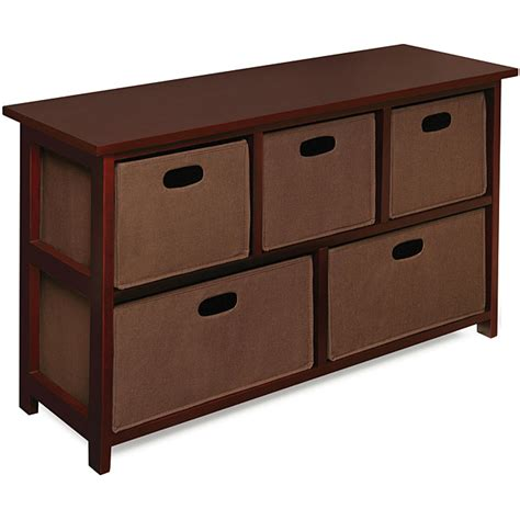 furniture organizer online wooden cherry storage cabinet with baskets overstock