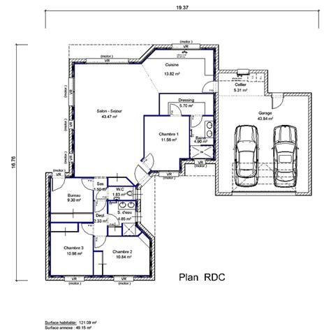 plan maison 3 chambres 1 bureau plan maison 3 chambres 1 bureau 1 maison en quotlquot 4