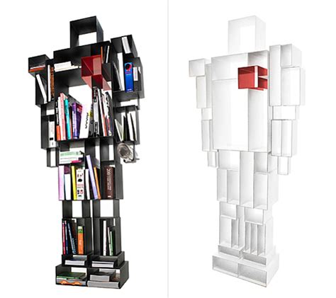 a bookshelf shaped like a sized robot