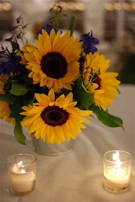 sunflower arrangements ideas sunflower centerpiece with candles wedding flower ideas