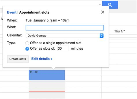 make calendar appointment how to create appointment slots in calendar