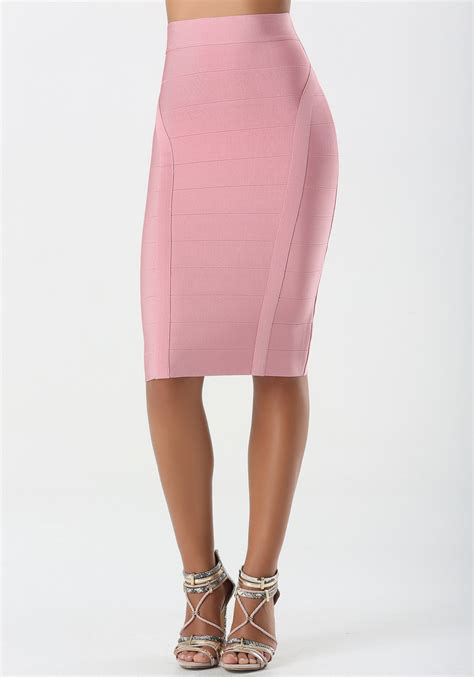 bebe solid bandage midi skirt in pink rosette lyst
