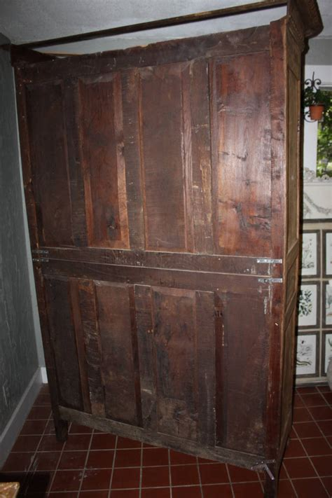 19th century bleached armoire with glass doors at