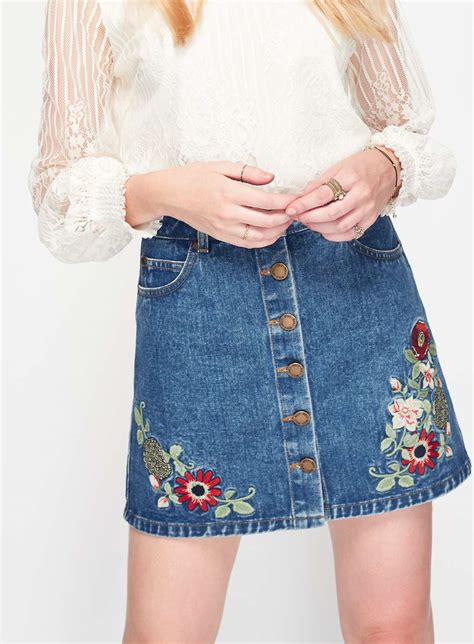 floral embroidered denim skirt miss selfridge us