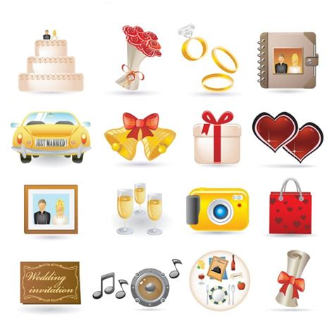 Wedding Icons by Wedding Icon Collection Vector Free