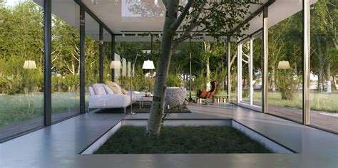 le anh white living  indoor tree feature interior