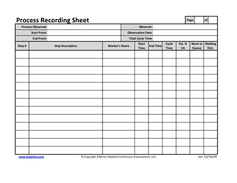 record sheet template office process recording sheet