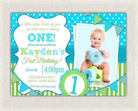 invitation for 1st birthday boy boys 1st birthday invitation blue and green dots stripes