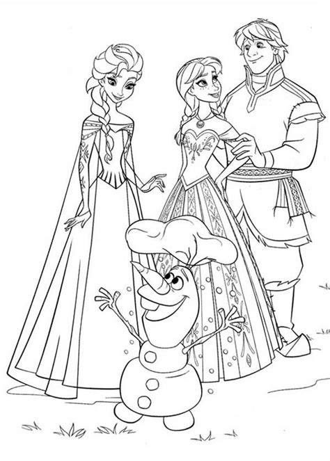 elsa and anna coloring book pages anna elsa kristoff and olaf coloring page coloring page