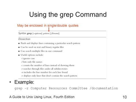 grep pattern double quotes a guide to unix using linux fourth edition ppt video