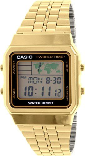 Casio Digital A500wga 9 Original Gold s gold tone casio world time stainless steel